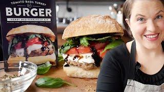 Juicy Caprese Turkey Burger - A trip to Italy on a Bun   Cook School   Urban Accents