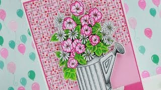 Flower Pail - Copic Colouring & Card Tutorial