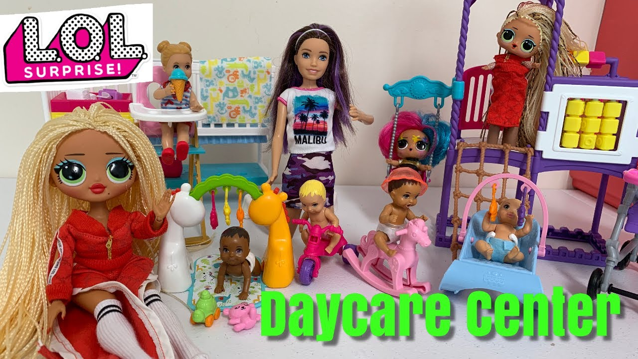 Barbie Doll Daycare Center With LOL OMG Doll LOL Surprise Video