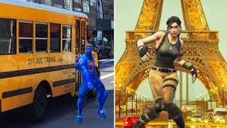 FORTNITE DANCE CHALLENGE In Real Life vs. Wheels On The Bus Song