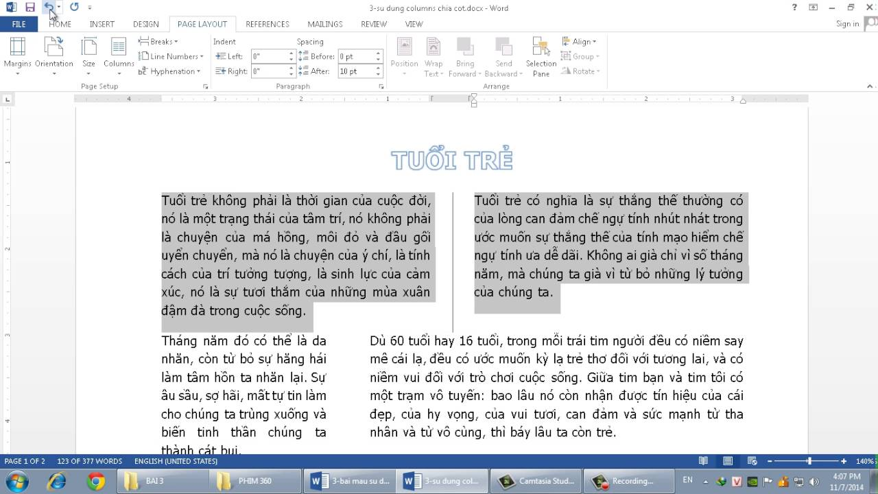 Microsoft Word 2013: HƯỚNG DẪN SỬ DỤNG COLUMNS  HIỆU QUẢ