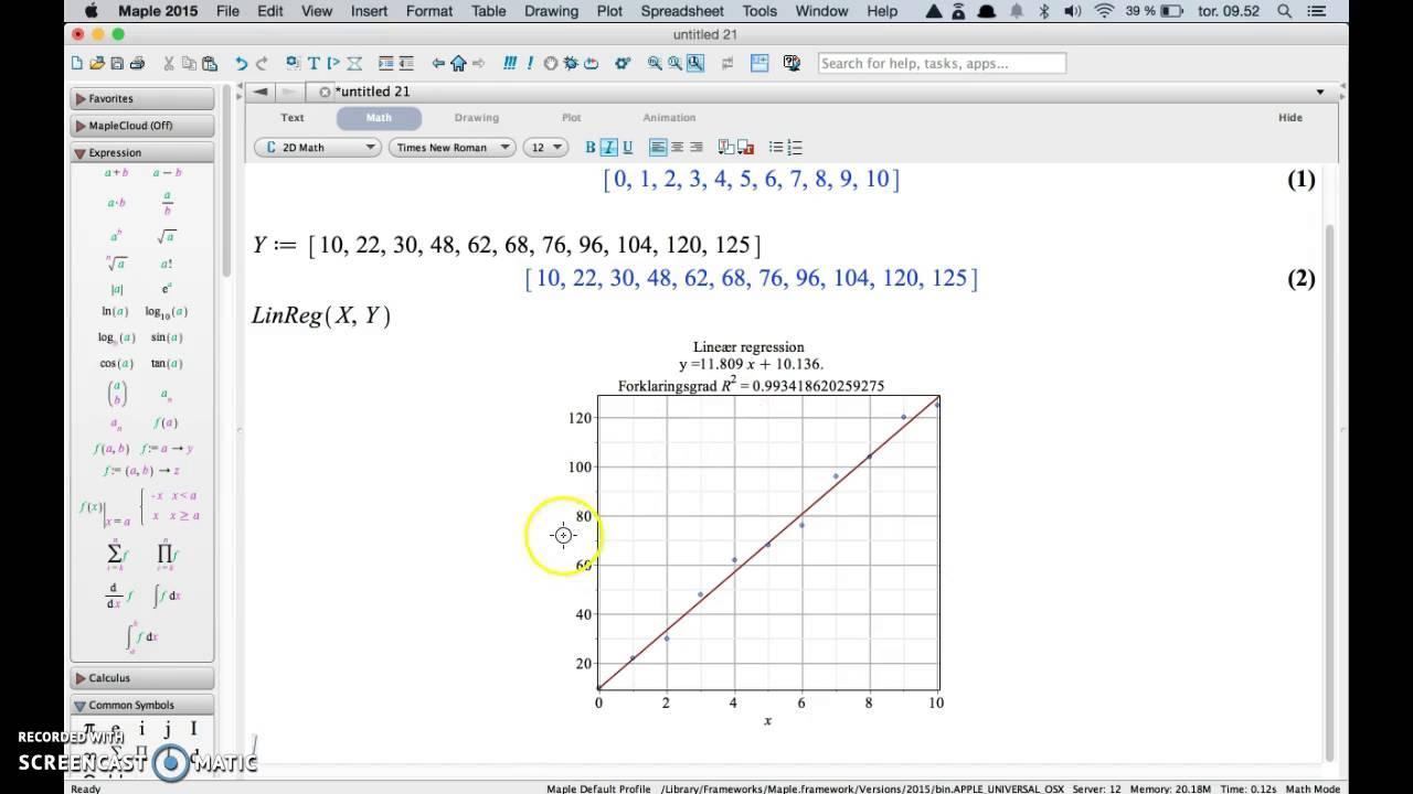 Simpel lineær regression i Maple med Gym-pakken
