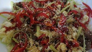Японский салат со свининой (тёплый)