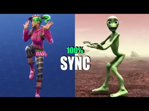 Zany Emote With Alien Dance Dame Tu Cosita 100% IN SYNC (Fortnite Emote)