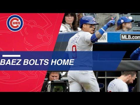 Javier Baez steals home against the Mets