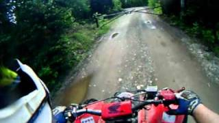 riding my trx 450 at my house in liberty maine
