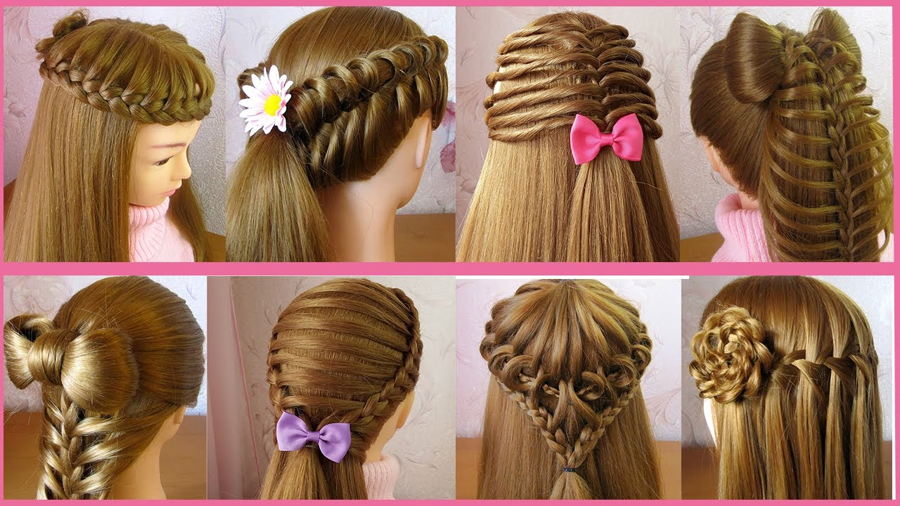 8 Beautiful Cute Hairstyles For Girls Hair Style Girl Trendy Hairstyles Tuto Coiffures Simples Youtube