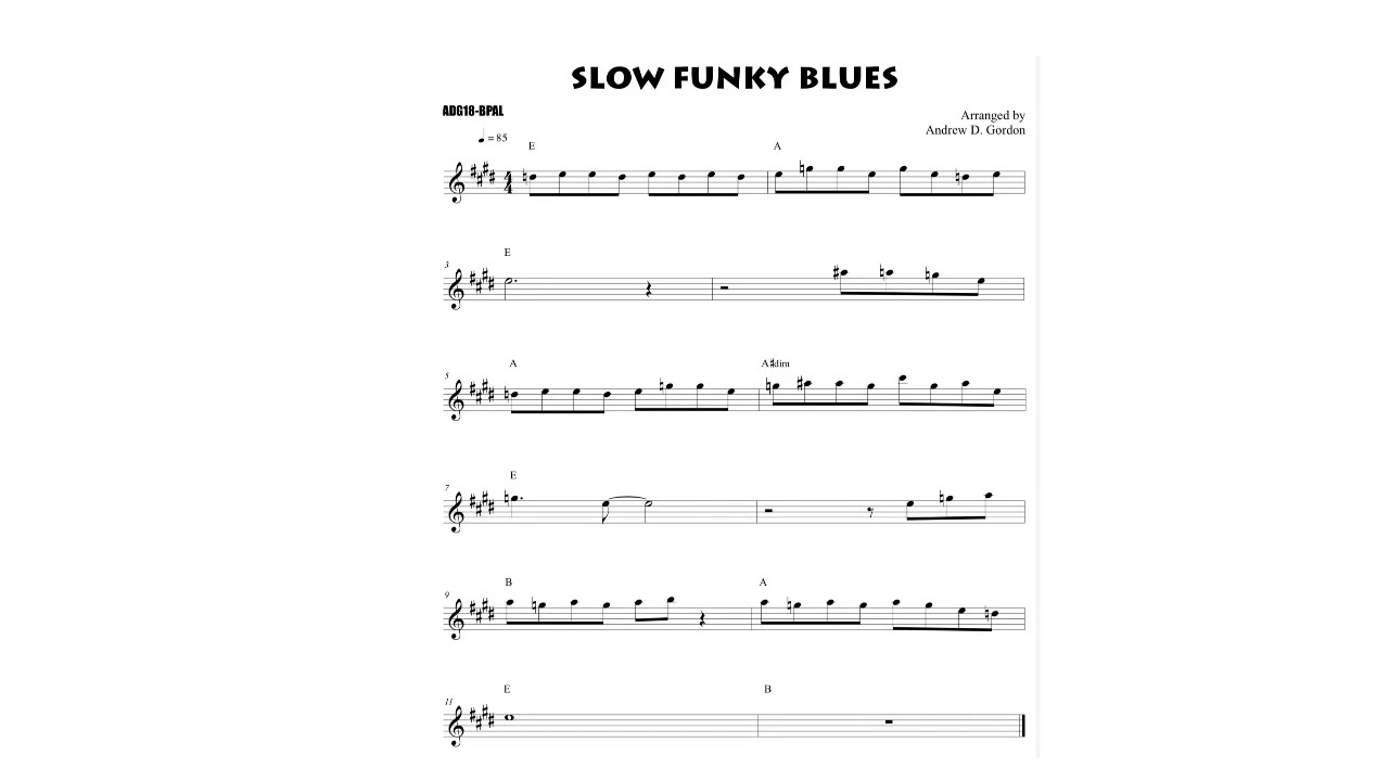 Slow Funky Blues Sax Riff of the Day for Alto Eb Sax