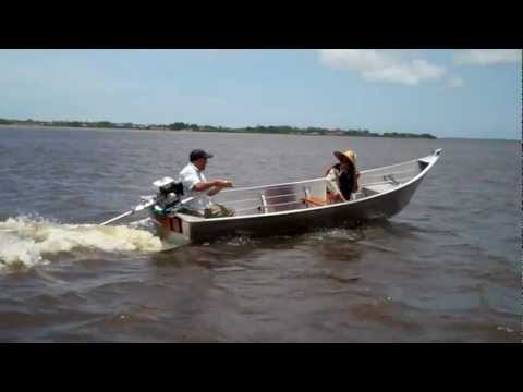 Aluminum piyaka on the Suriname River