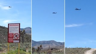 Black Hawk Helicopter Buzzed Tour Group at Front (Line) Gate of Area 51 - FindingUFO