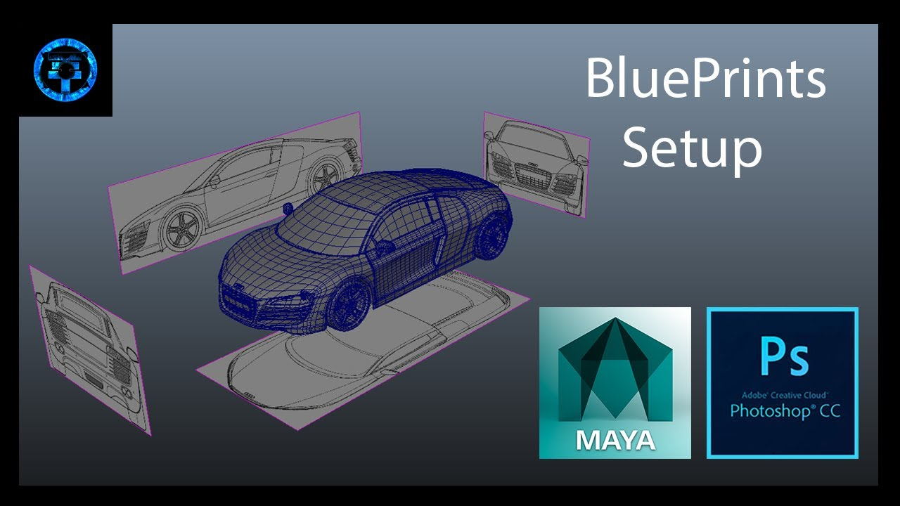 Car Blueprints Setup Photoshop Cc And Maya 2014 Youtube