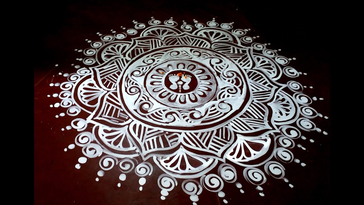 Floor Art Jhoti Chita Rangoli Art Easy Alpana Design
