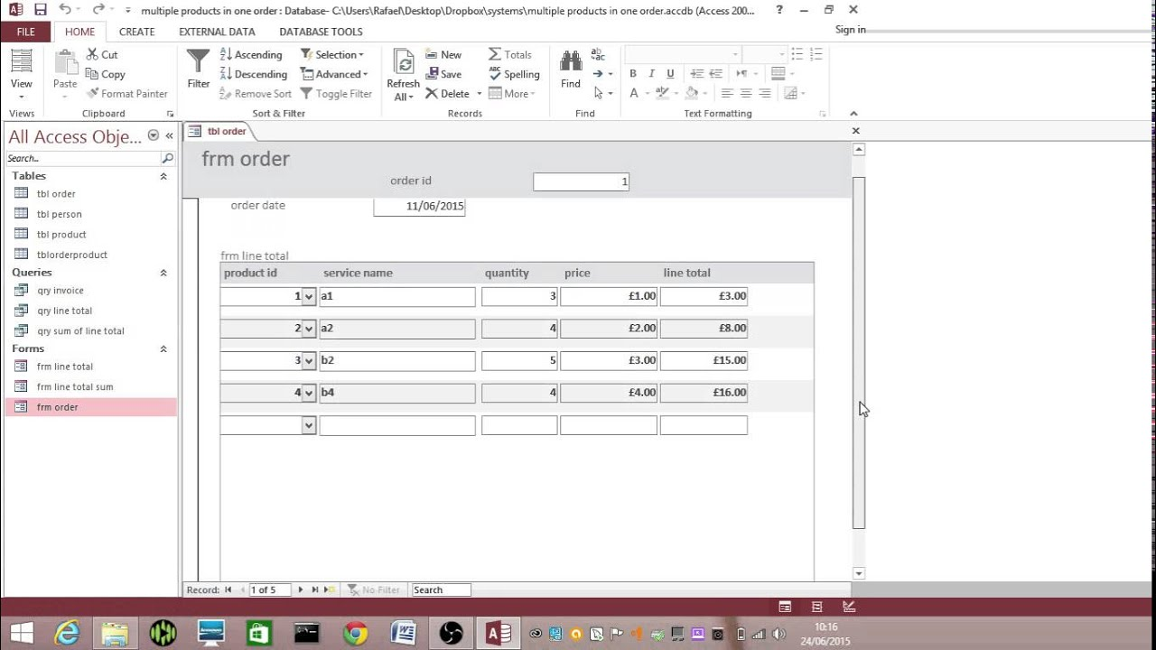 Customising an Order Form in MS Access - YouTube on google docs order form, infopath order form, word order form,