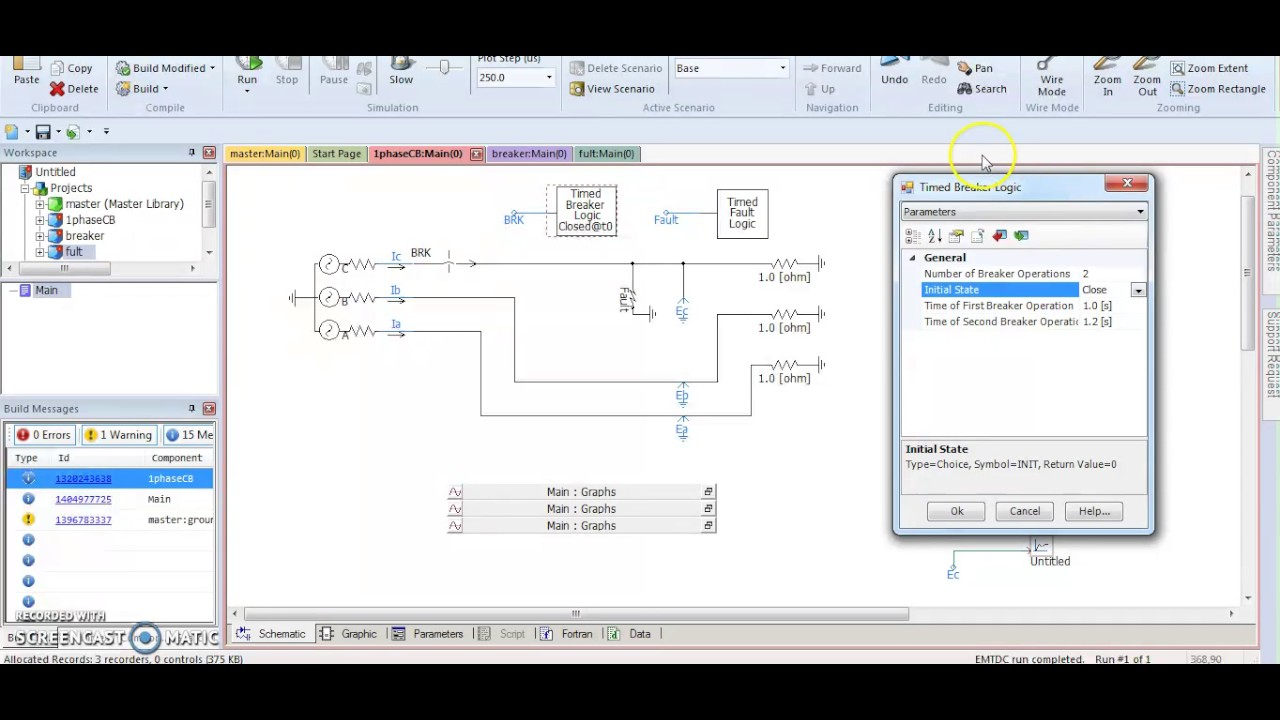 small resolution of  pscad single line fault and circuit breaker
