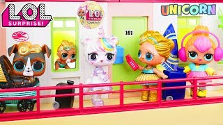 Custom LOL Surprise Dolls Play Dress Up at Hotel with Unicorn Lil L...