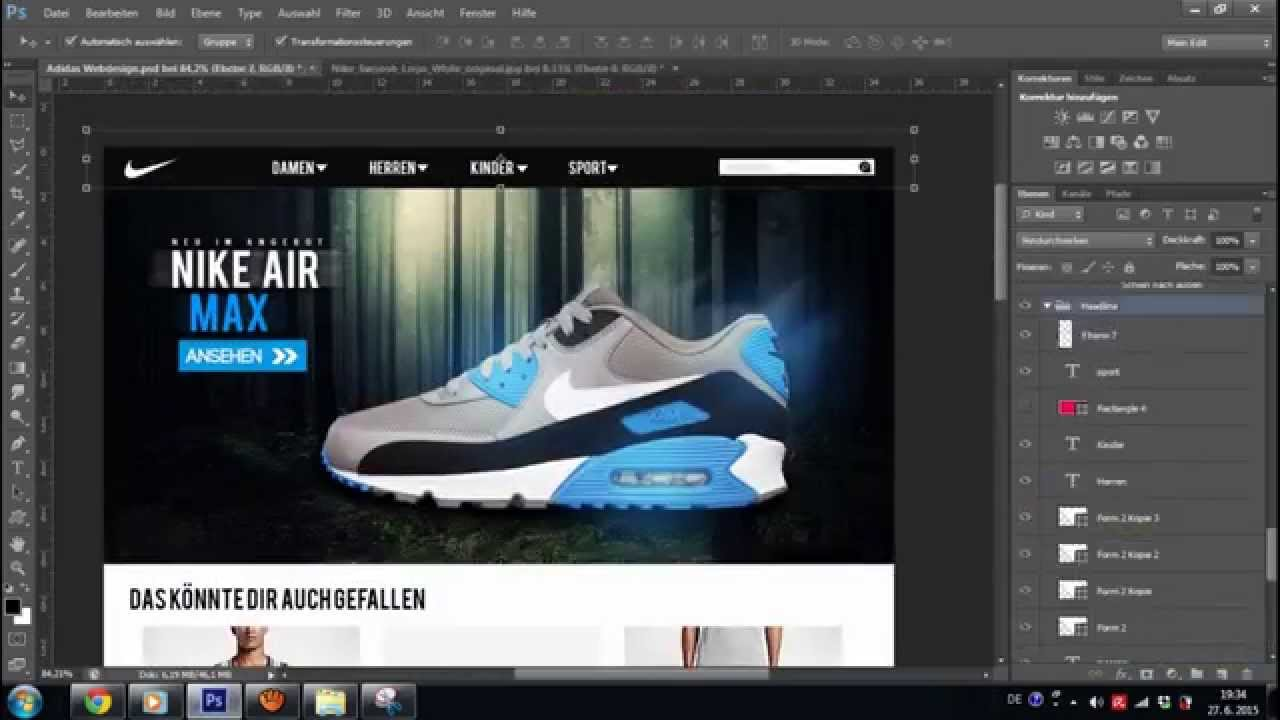 8c71eb6bacfe3 Nike Webdesign - Photoshop Speed Art - YouTube