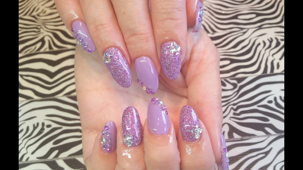 Acrylic Nails L Purple Bride Wedding L Nail Design Youtube