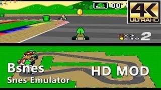 Bsnes 107.1 (HD Mode 7)   Super Mario Kart (4K Gameplay)