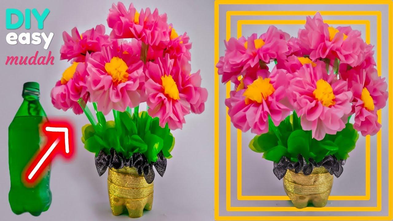 Cara Mudah Membuat Bunga Hias Dari Botol Plastik Bekas Dan Kresek Easy Decoration Youtube