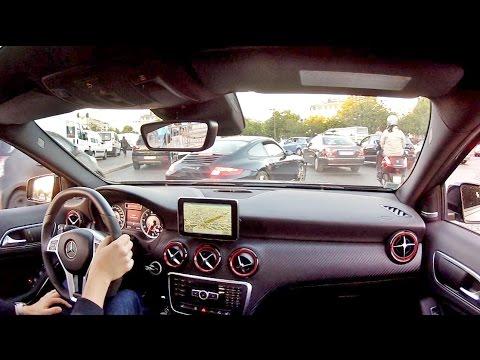 Mercedes A45 AMG - Scary Driving at Paris' Place De L'Etoile