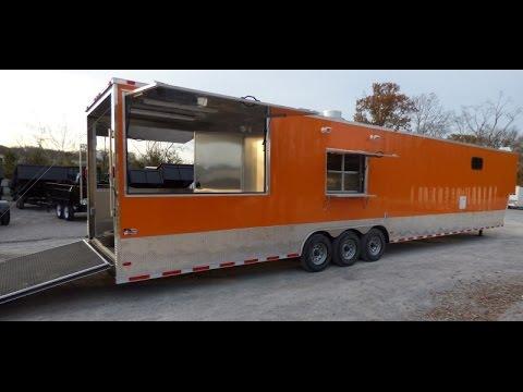 Concession Trailer 8.5' x 48' Orange Catering Event Food Trailer