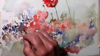 poppies and cornflowers watercolor, Hedwig's Art
