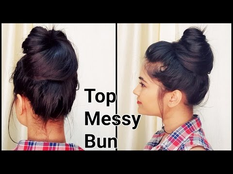 1 Min Top MESSY BUN for Oily Hair for Summers/ Indian hairstyles for medium long hair