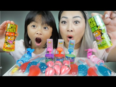 Popular Candy *Tiktok Slime Lickers, Korean Fruit Jelly, Paint Brush Candy Mukbang | N.E Let's Eat