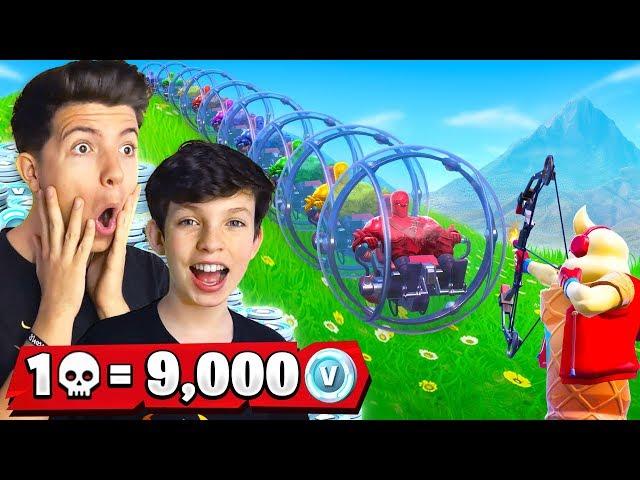 1 Elimination = 9,000 VBucks w/ My 13 Year Old Little Brother (Fortnite Challenge)