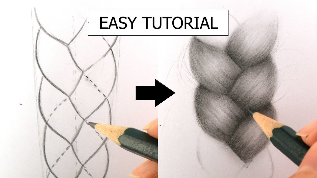 How To Draw Realistic Braid Plait For Beginners Real Time Easy Tutorial Youtube