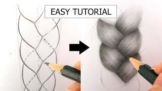 braid drawing tutorial draw realistic drawings beginners plait easy paintingvalley