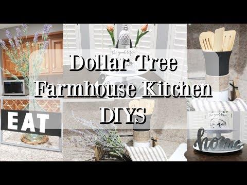 DOLLAR TREE FARMHOUSE DIYS | KITCHEN DECOR 2019