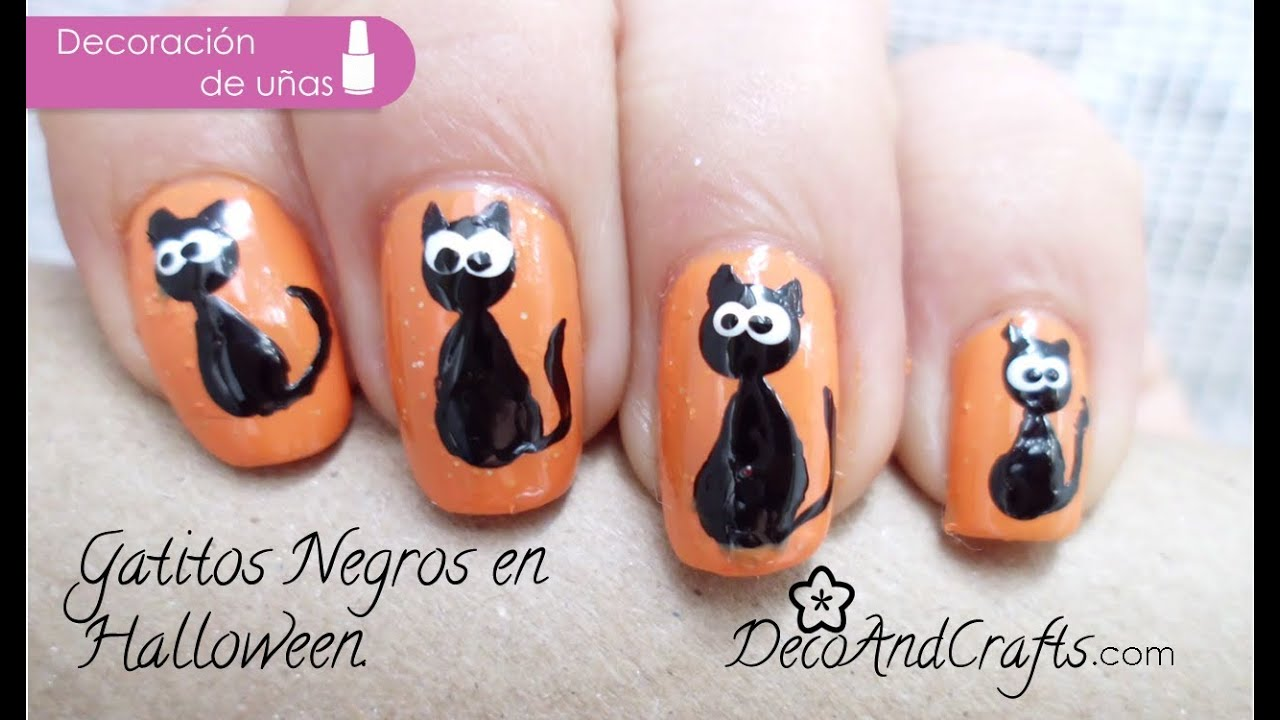 Uñas decoradas Gatitos // Black Cat nails - YouTube