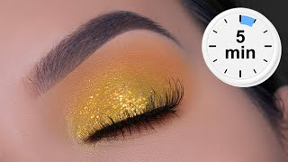 5 MINUTE EASY Golden Eye Makeup Tutorial | Stay At Home Eye Look