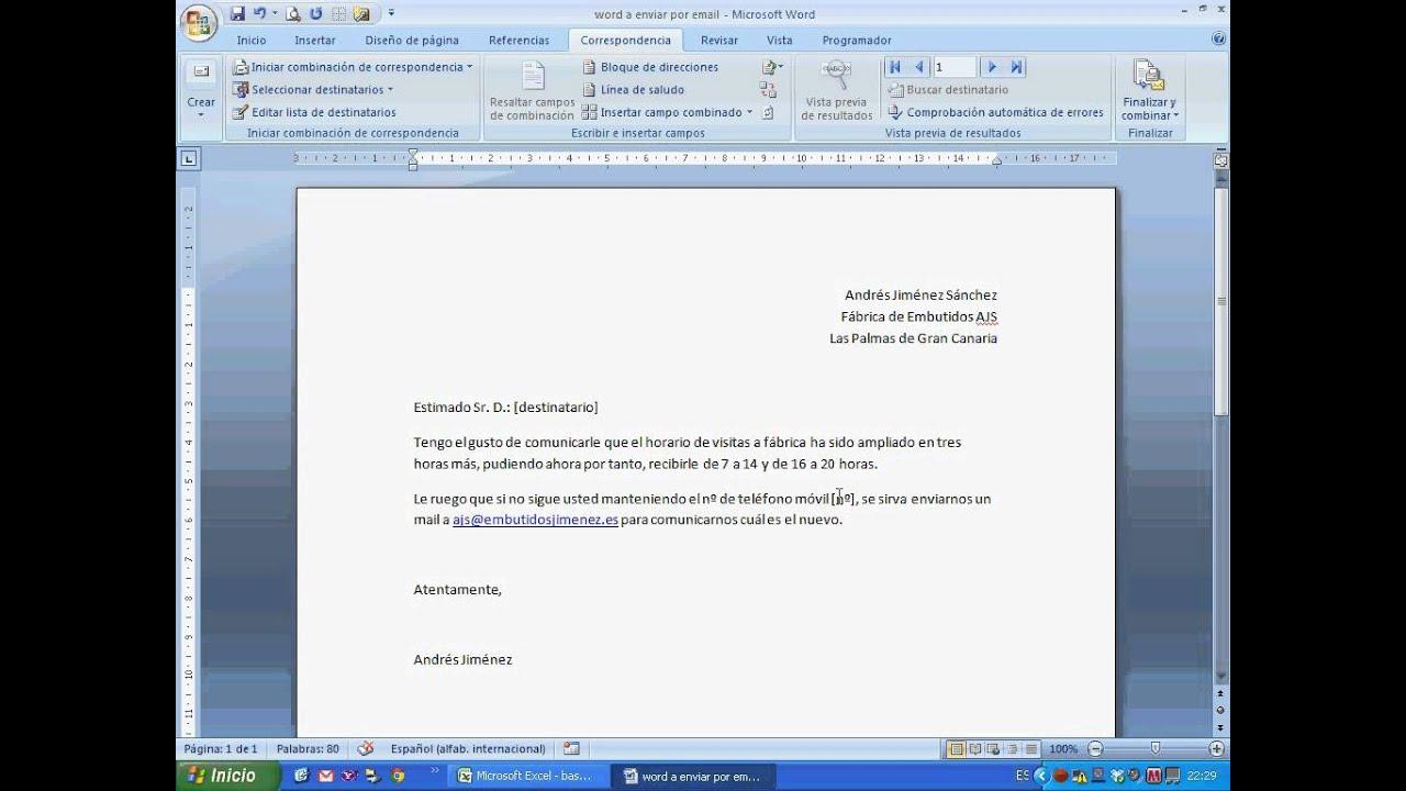 Excel 2007 combinar con word para envío personalizado por email a varios avi YouTube