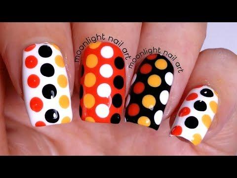 Polka Dots Design: Orange, Black and White Tutorial – by Moonlight Nail Art thumbnail