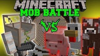 MECHA GOLEM VS MUTANT COW, MUTANT SHEEP, MUTANT PIG, & MUTANT CHICKEN - Minecraft Mob Battles - Mods