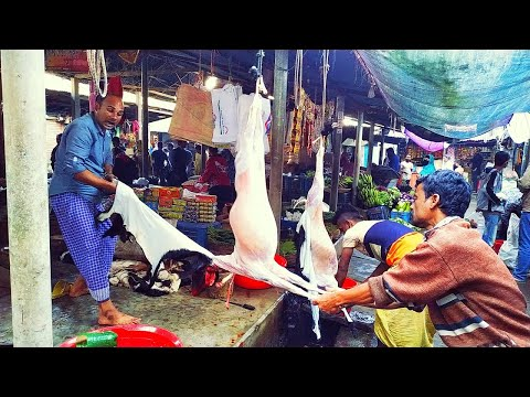 Full Goat Cutting | Goat Meat Cutting Skills | Goat Skin Remove Skills