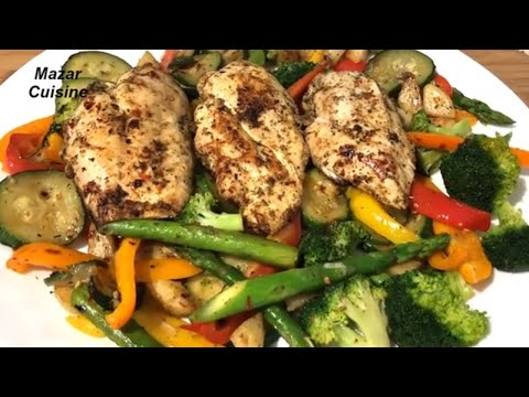 Chicken And Vegetable Recipe مرغ با سبزیجات Healthy Meal Mazar Cuisine