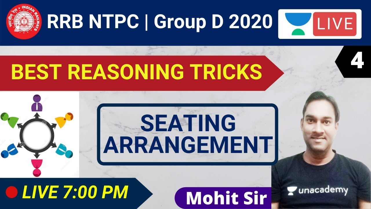 7:00 PM - Seating Arrangement | BEST REASONING TRICKS | RRB NTPC & Group D | By Mohit Sir
