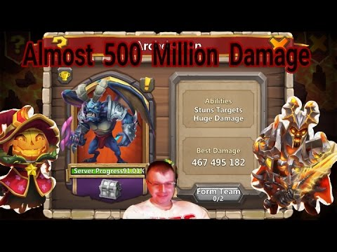 Archdemon Almost 500 Million Damage Using F2P Heroes - Castle Clash