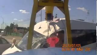 Авария крана  Вид из кабины
