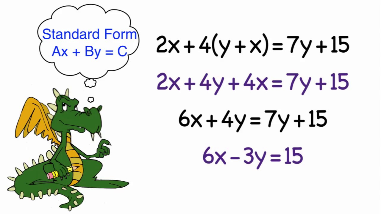 Rewriting linear equations in standard form youtube rewriting linear equations in standard form falaconquin
