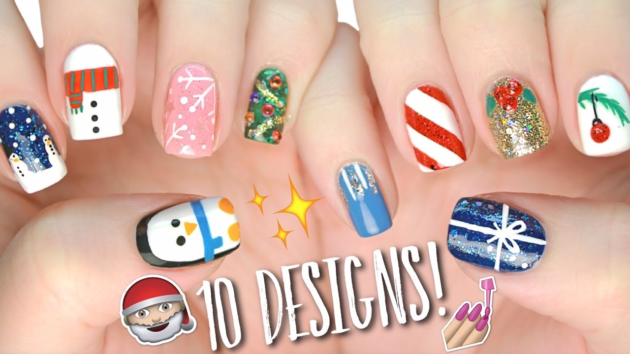 - 10 Easy Nail Art Designs For Christmas: The Ultimate Guide #4! - YouTube