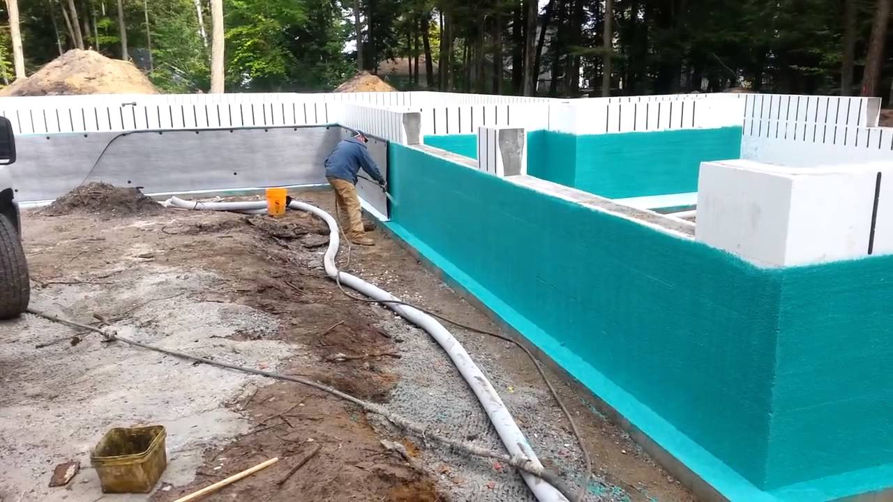Rub r wall waterproofing on icf foundation youtube Basement swimming pool construction