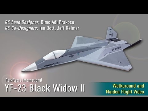 Parkflyers International YF-23 Black Widow II: Walkaround, Maiden Flight and Follow Cam