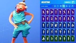 FISHSTICK SKIN SHOWCASE WITH ALL FORTNITE DANCES & EMOTES
