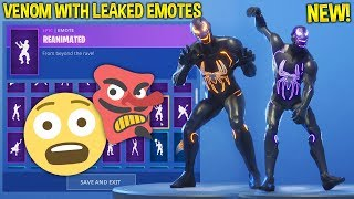 "*NEW* Fortnite ""VENOM"" Skin Showcase With Leaked EMOTES..!! (Evil SpiderMan)"