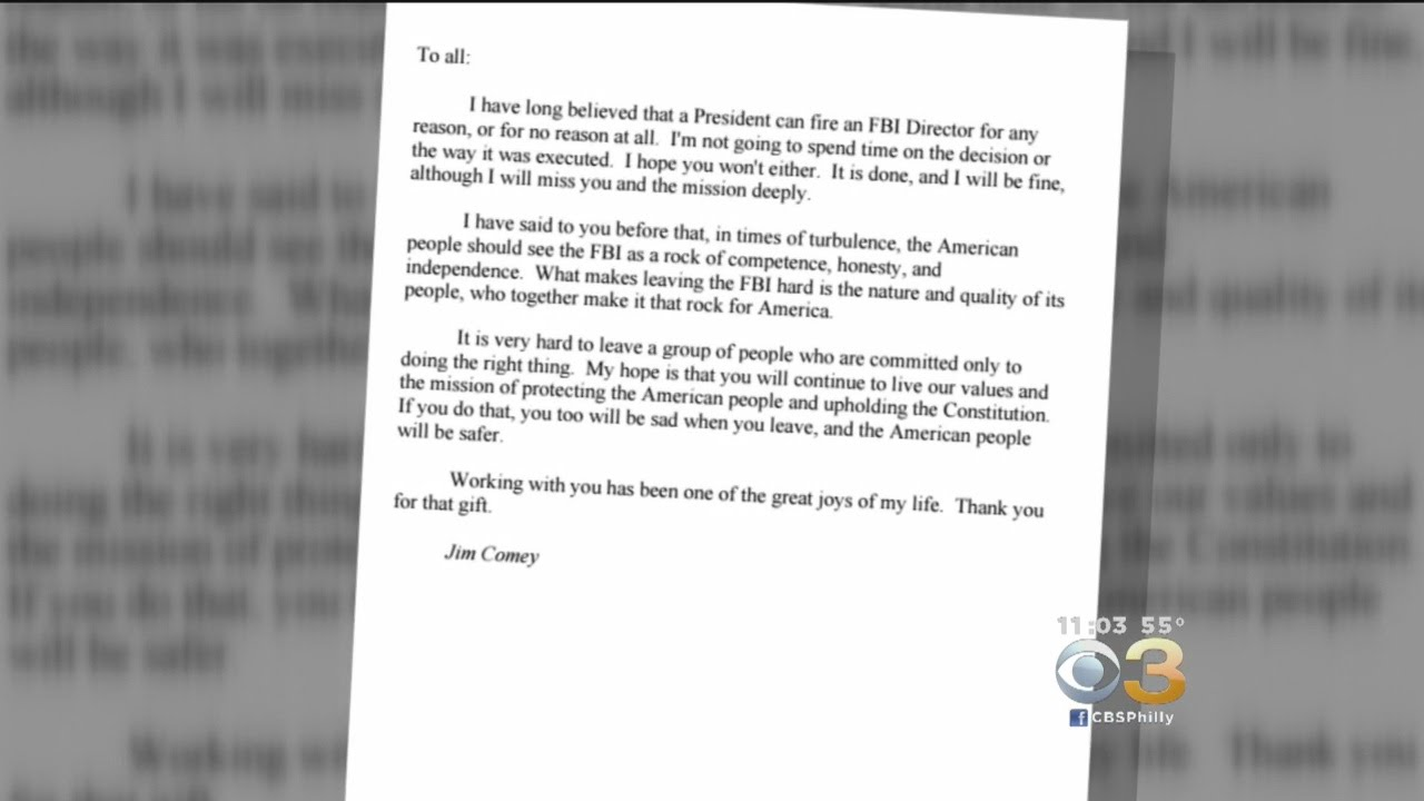 Comey sends farewell letter to friends and agents youtube comey sends farewell letter to friends and agents aljukfo Choice Image