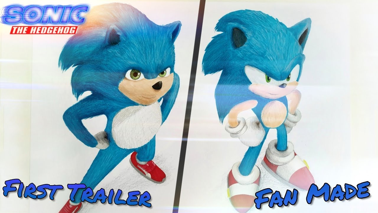Drawing Sonic Movie Vs Fan Made Version Youtube